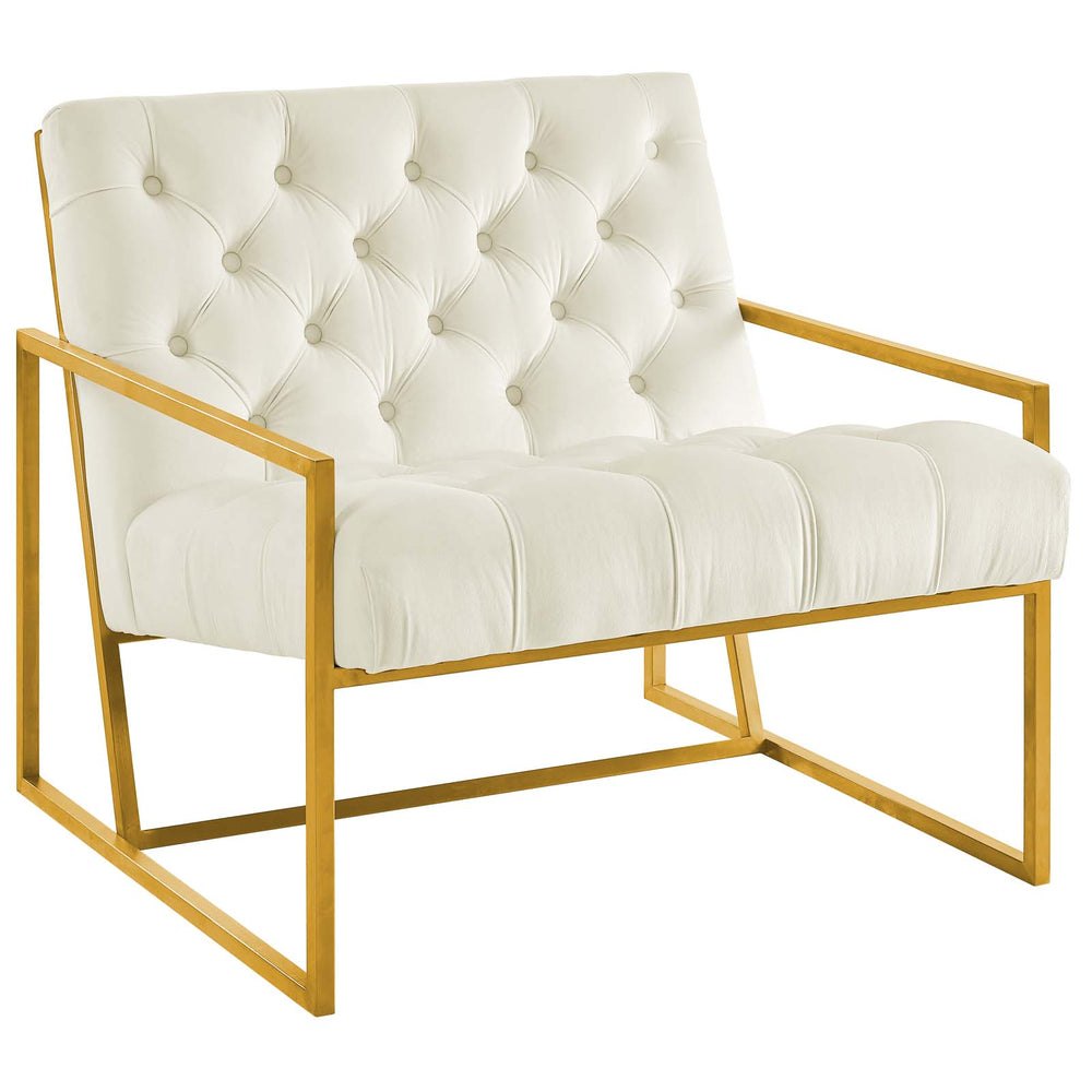 Modway Bequest Gold Stainless Steel Upholstered Velvet Accent Chair in Ivory