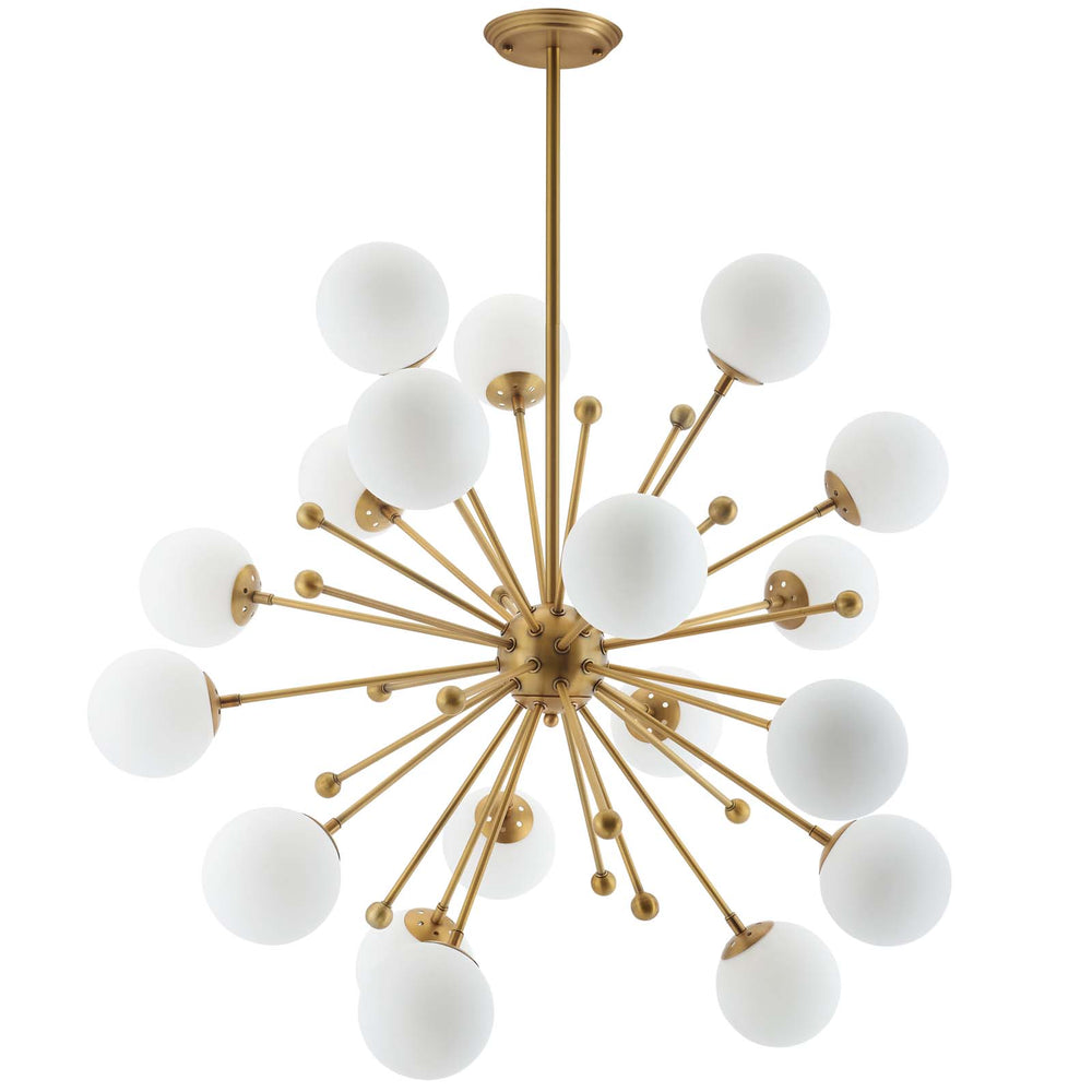 Modway Constellation White Glass and Brass Pendant Chandelier in