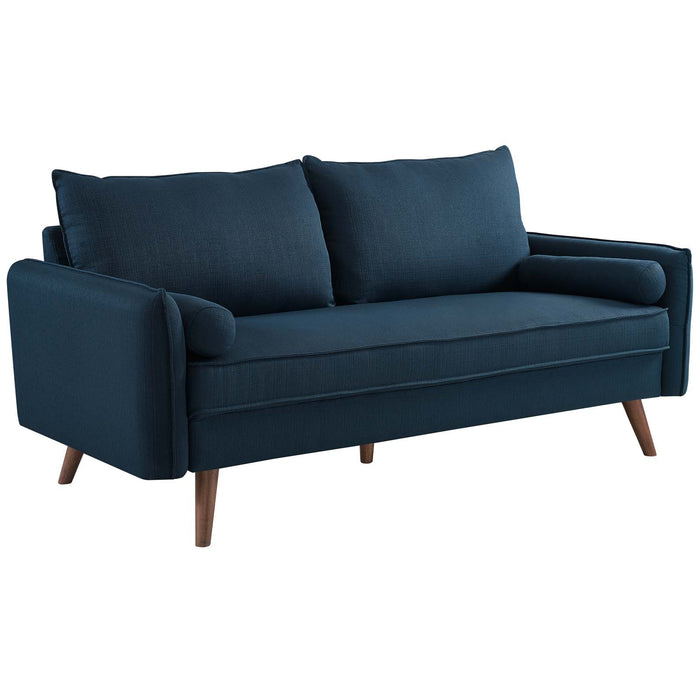 Modway Revive Upholstered Fabric Sofa in Azure