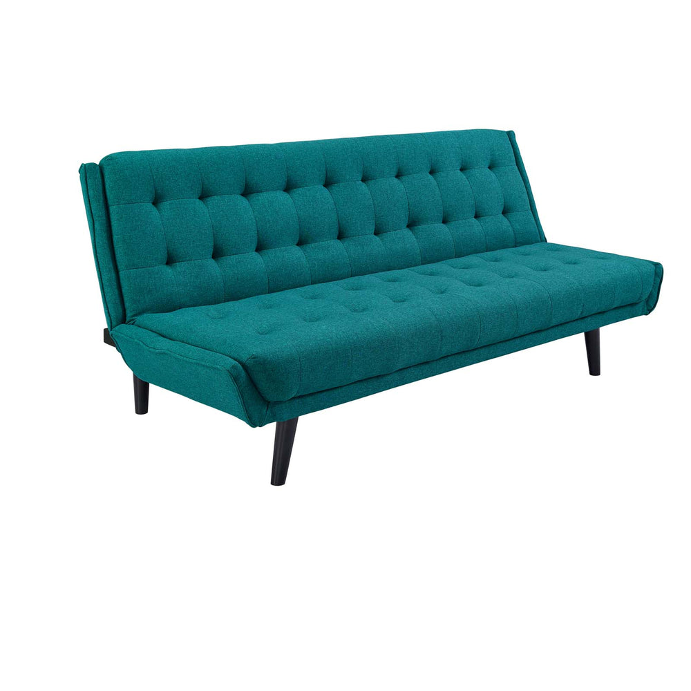 Modway Glance Tufted Convertible Fabric Sofa Bed in Teal