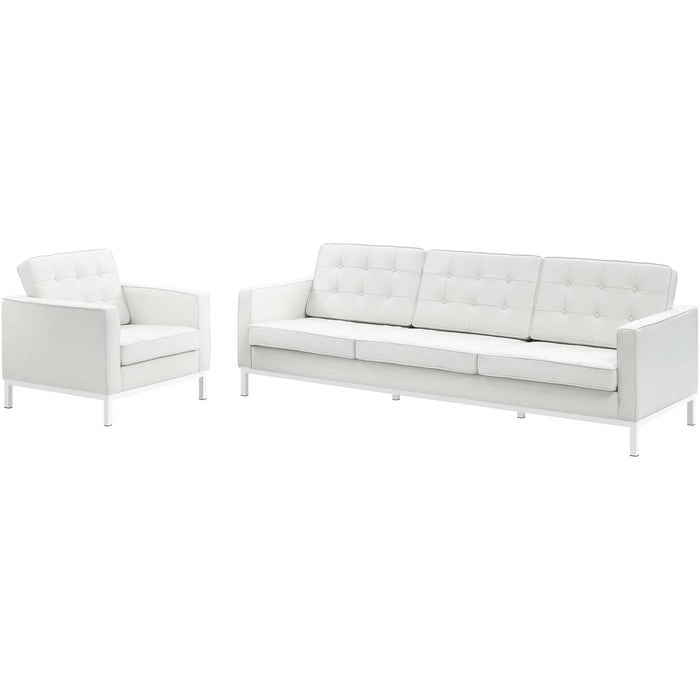 Modway Loft 2 Piece Leather Sofa and Armchair Set in Cream White