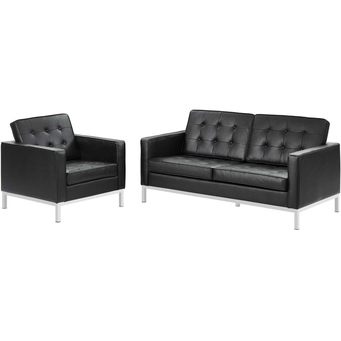 Modway Loft 2 Piece Leather Loveseat and Armchair Set in Black