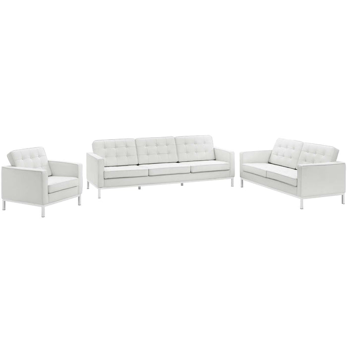 Modway Loft 3 Piece Leather Sofa Loveseat and Armchair Set in Cream White