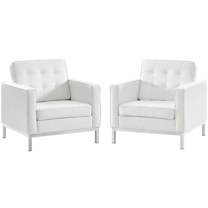 Modway Loft 2 Piece Leather Armchair Set in Cream White