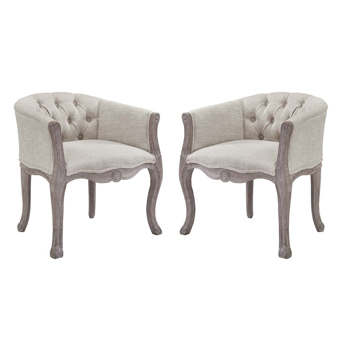 Modway Crown Vintage French Upholstered Fabric Dining Armchair Set of 2 in Beige