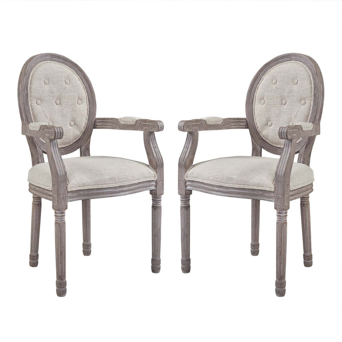Modway Arise Vintage French Upholstered Fabric Dining Armchair Set of 2 in Beige