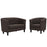 Modway Prospect 2 Piece Upholstered Fabric Loveseat and Armchair Set in Brown