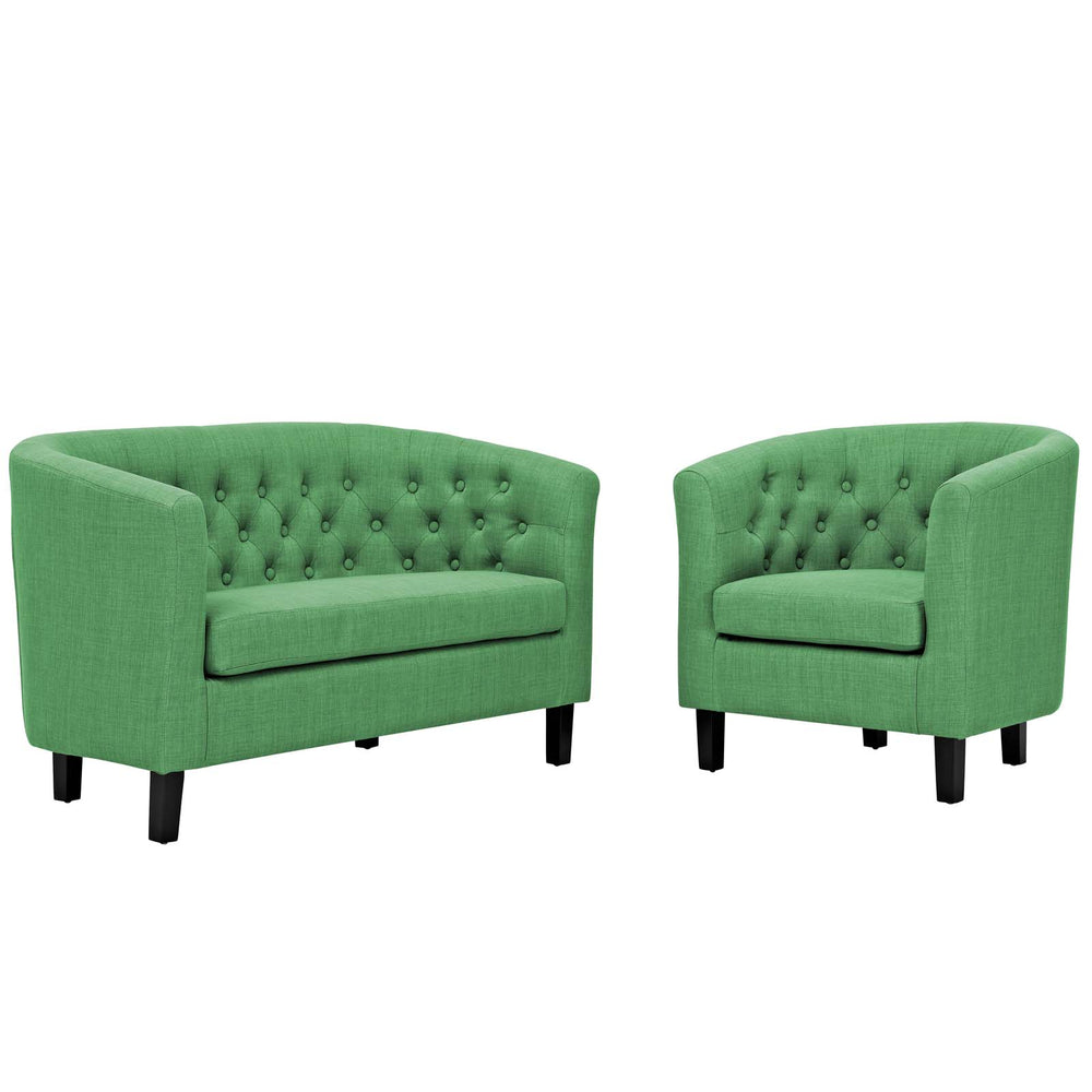 Modway Prospect 2 Piece Upholstered Fabric Loveseat and Armchair Set in Green