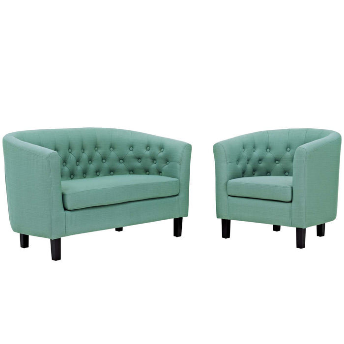Modway Prospect 2 Piece Upholstered Fabric Loveseat and Armchair Set in Laguna
