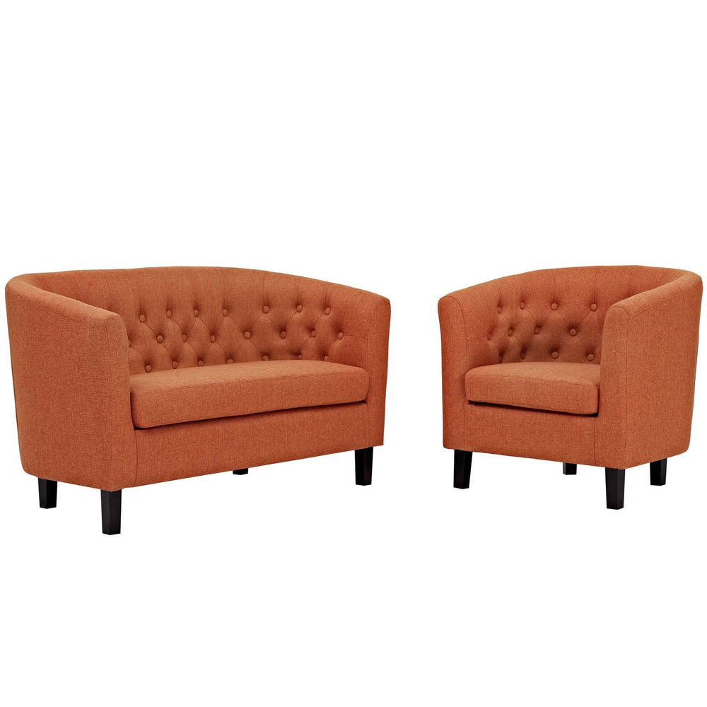 Modway Prospect 2 Piece Upholstered Fabric Loveseat and Armchair Set in Orange