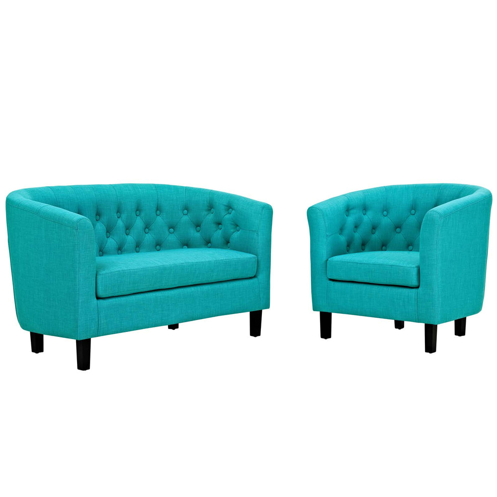Modway Prospect 2 Piece Upholstered Fabric Loveseat and Armchair Set in Pure Water