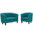 Modway Prospect 2 Piece Upholstered Fabric Loveseat and Armchair Set in Teal