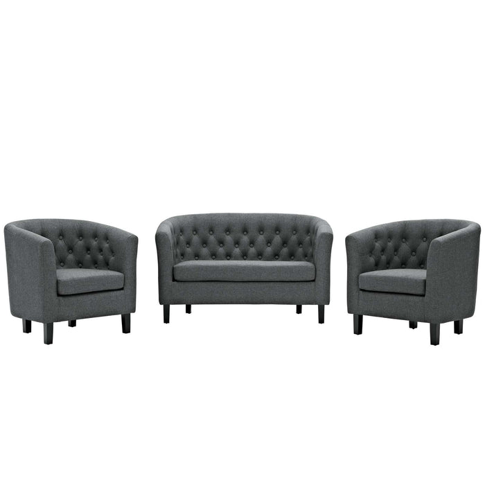 Modway Prospect 3 Piece Upholstered Fabric Loveseat and Armchair Set in Gray