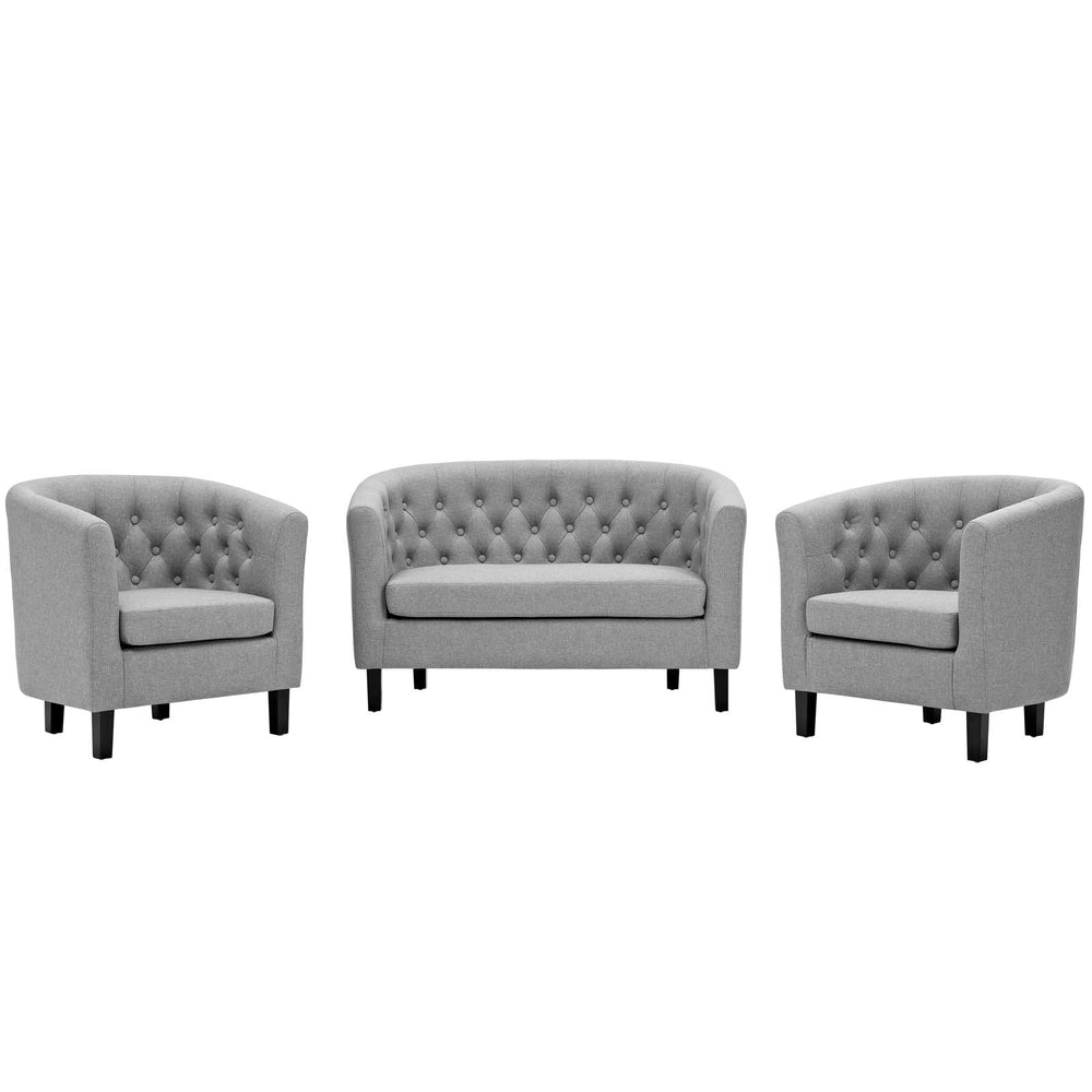 Modway Prospect 3 Piece Upholstered Fabric Loveseat and Armchair Set in Light Gray