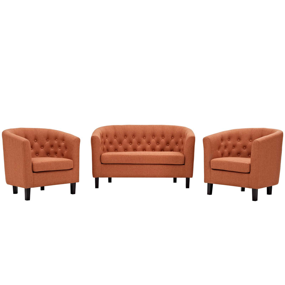 Modway Prospect 3 Piece Upholstered Fabric Loveseat and Armchair Set in Orange