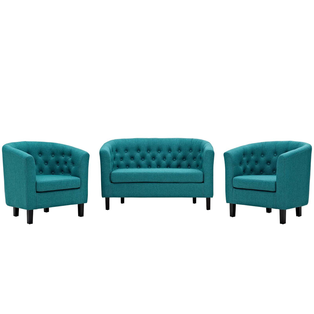Modway Prospect 3 Piece Upholstered Fabric Loveseat and Armchair Set in Teal