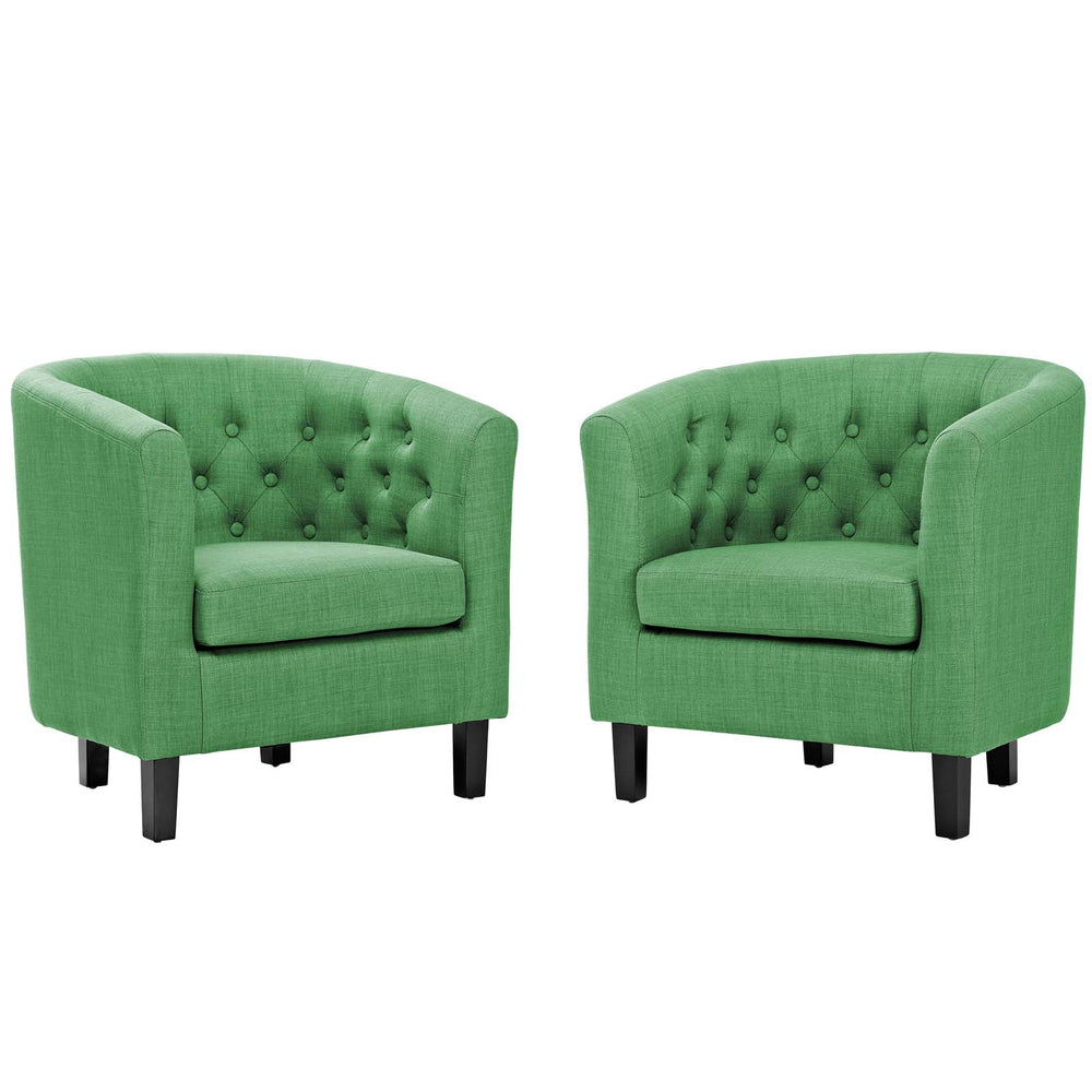 Modway Prospect 2 Piece Upholstered Fabric Armchair Set in Green