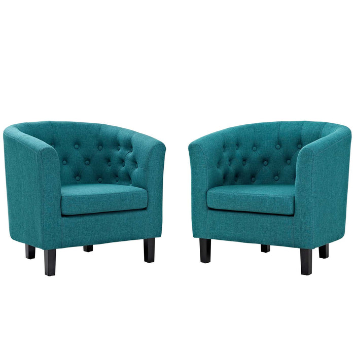 Modway Prospect 2 Piece Upholstered Fabric Armchair Set in Teal