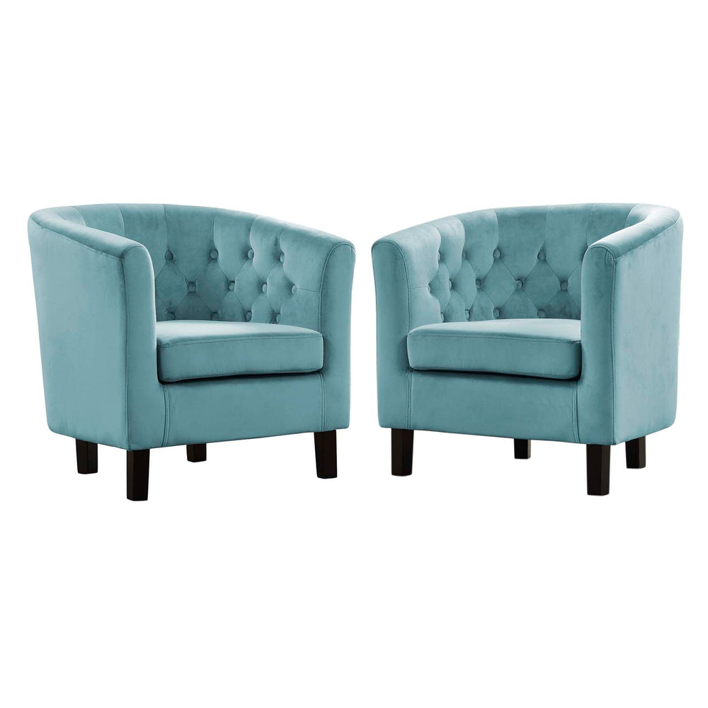 Modway Prospect 2 Piece Velvet Armchair Set in Sea Blue