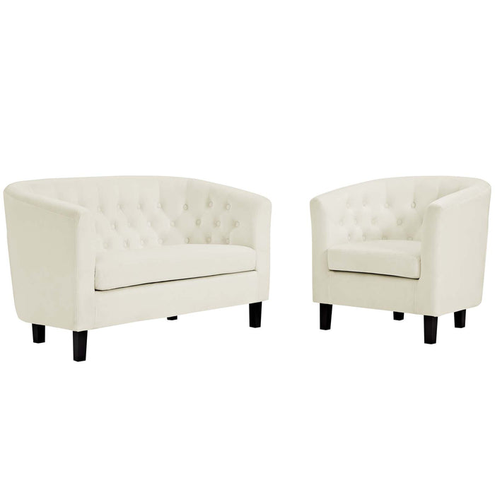 Modway Prospect 2 Piece Velvet Loveseat and Armchair Set in Ivory