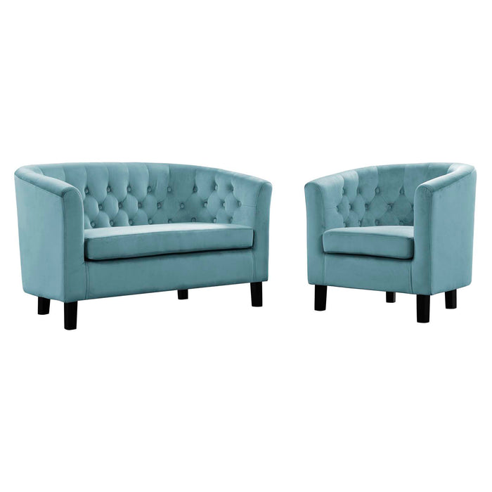 Modway Prospect 2 Piece Velvet Loveseat and Armchair Set in Sea Blue