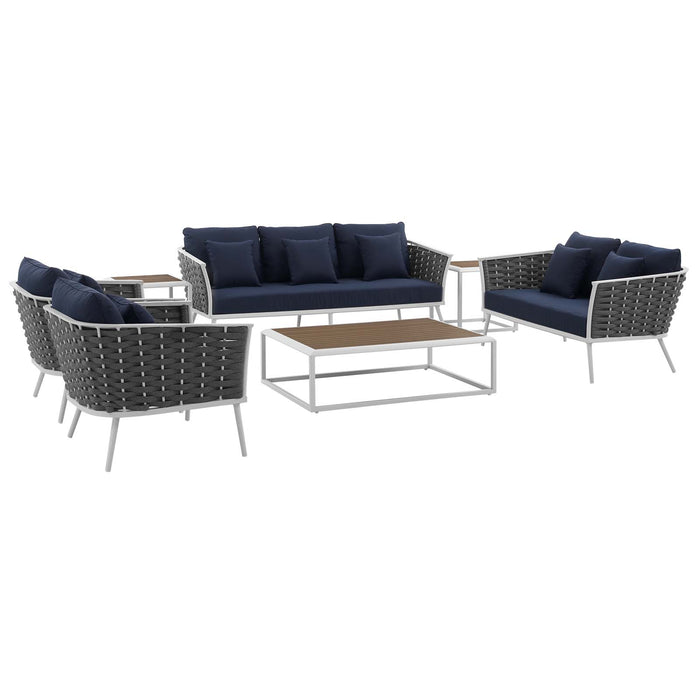 Modway Stance 7 Piece Outdoor Patio Aluminum Sectional Sofa Set in White Navy