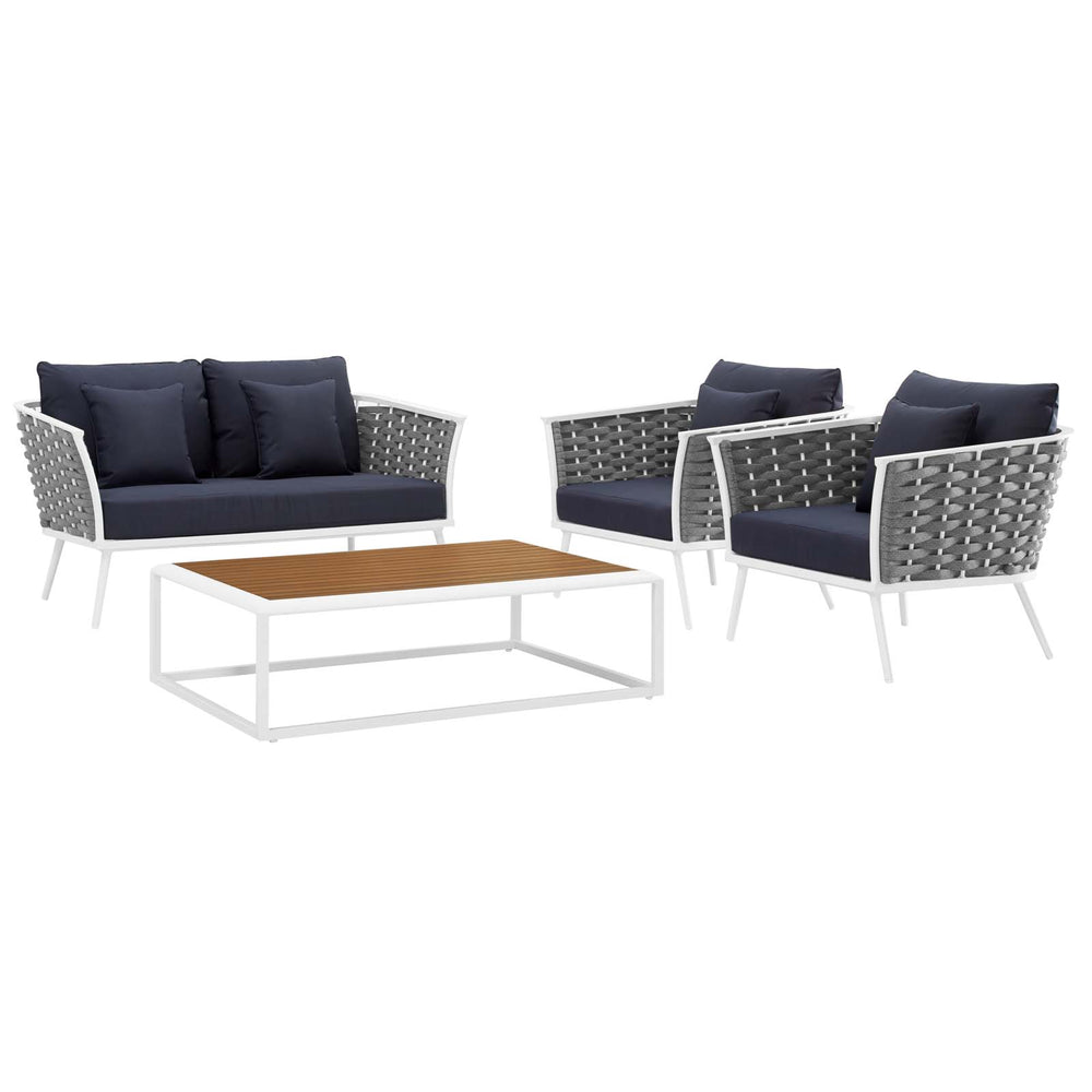 Modway Stance 4 Piece Outdoor Patio Aluminum Sectional Sofa Set in White Navy