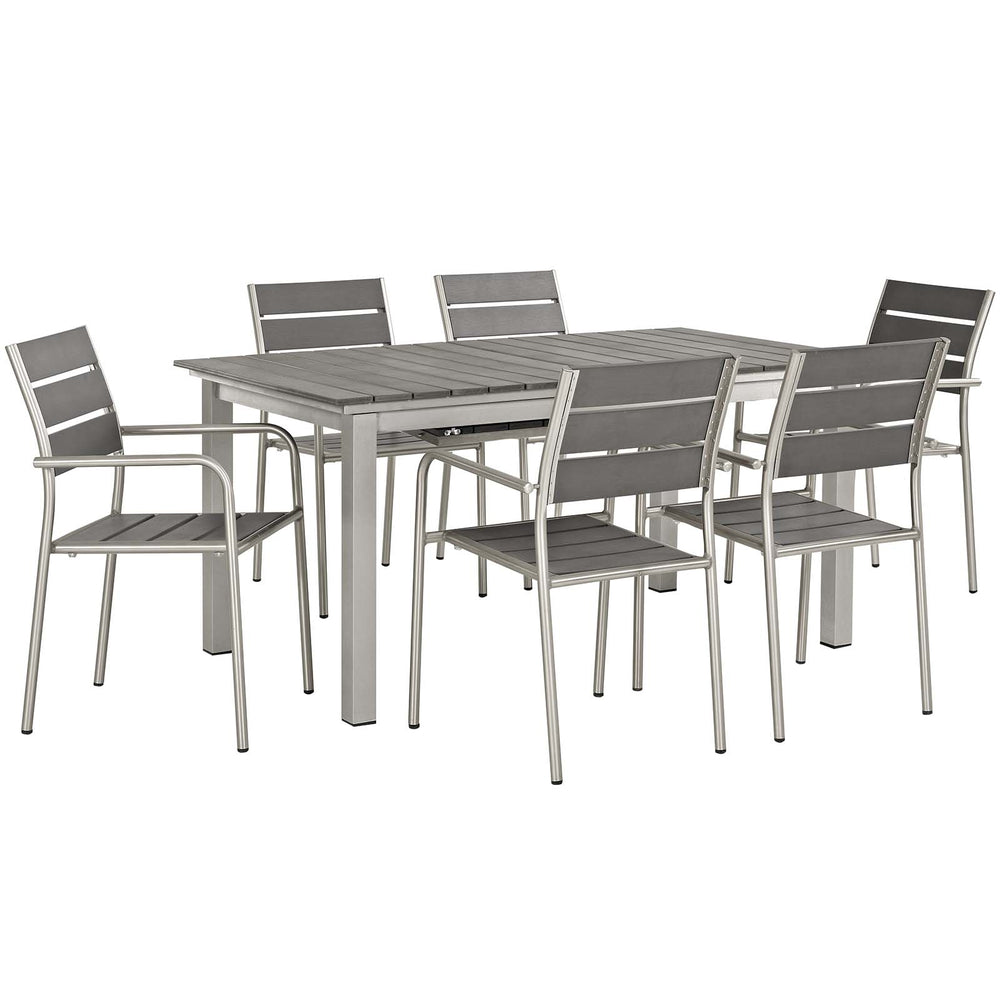 Modway Shore 7 Piece Outdoor Patio Aluminum Outdoor Dining Set in Silver Gray
