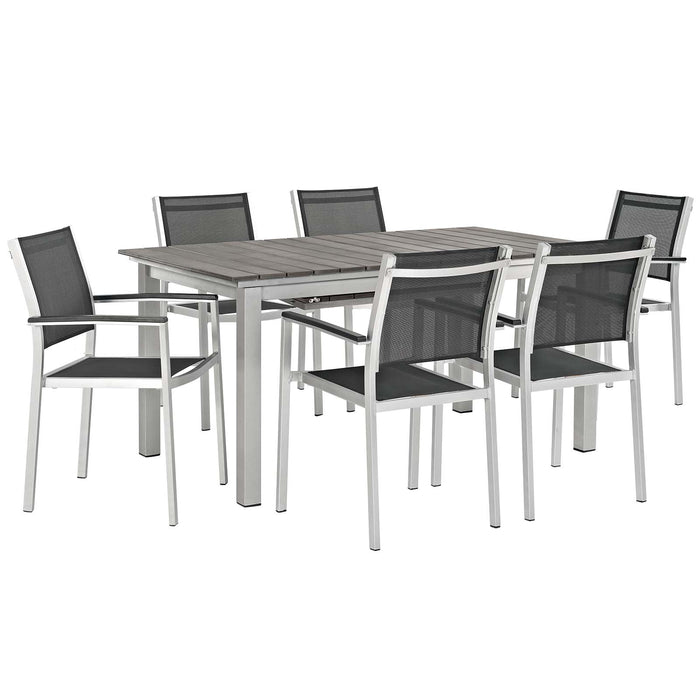 Modway Shore 7 Piece Outdoor Patio Aluminum Outdoor Dining Set in Silver Black