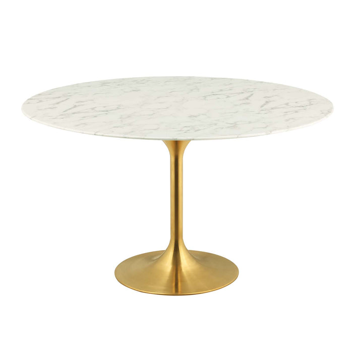 "Modway Lippa 54"" Round Dining Table in Gold White"