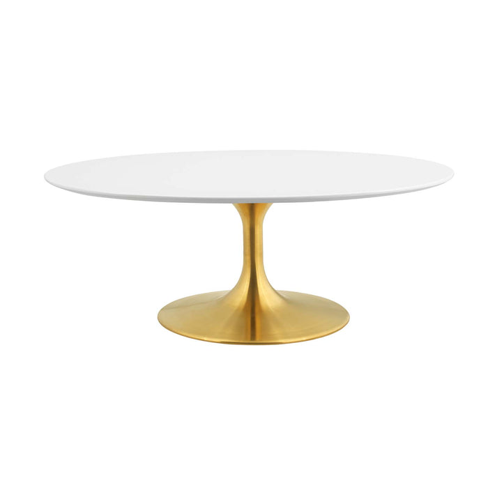 "Modway Lippa 42"" Oval-Shaped Coffee Table in Gold White"