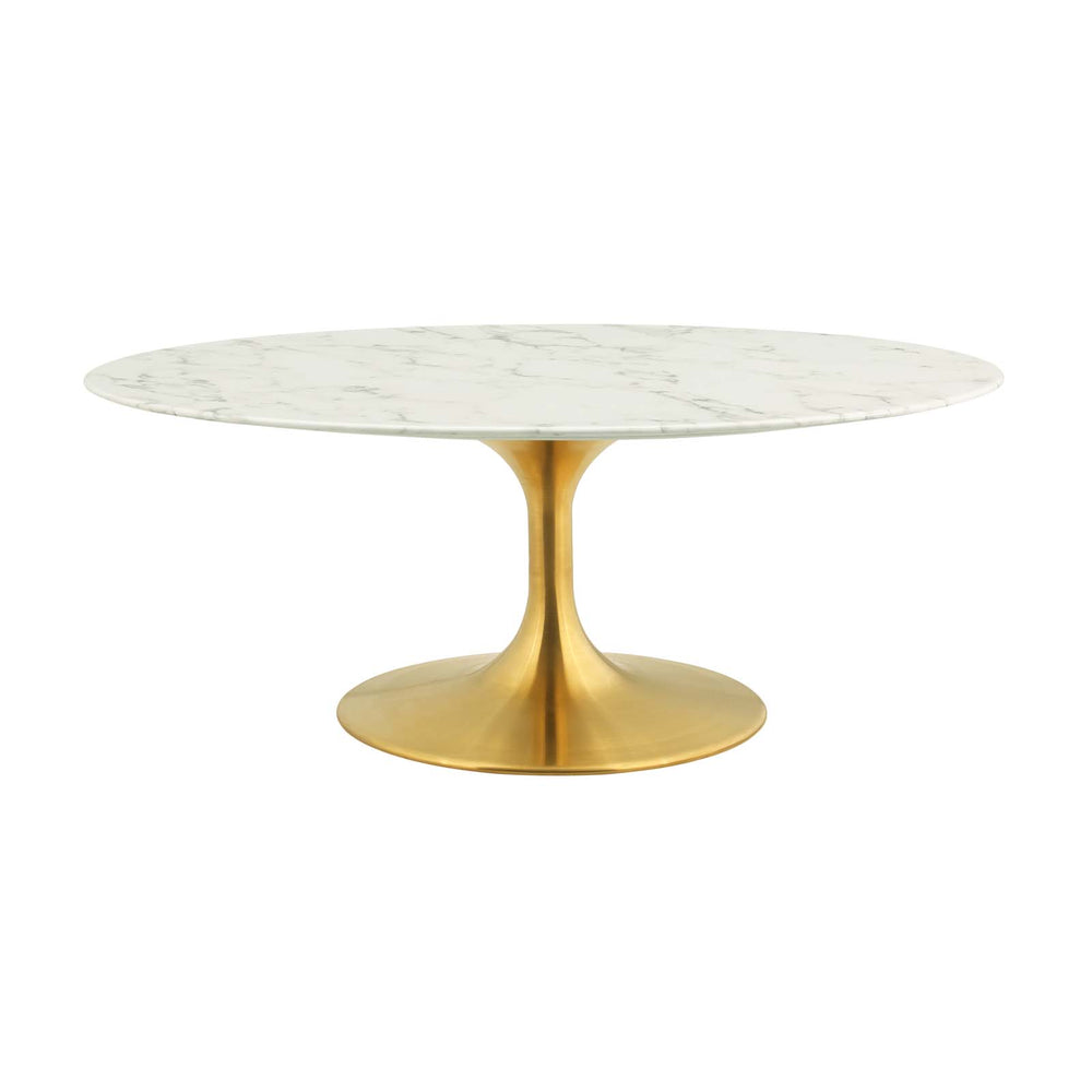 "Modway Lippa 42"" Oval-Shaped Artifical Coffee Table in Gold White"