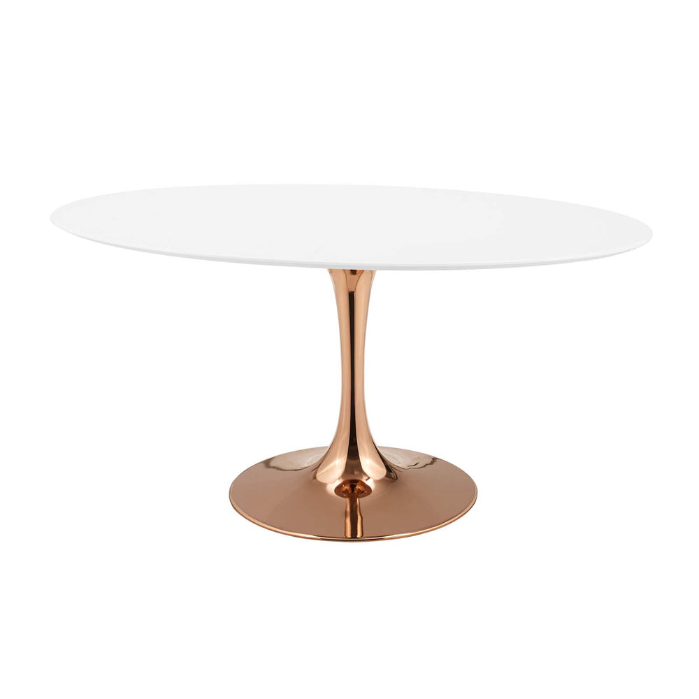 "Modway Lippa 60"" Oval Dining Table in Rose White"