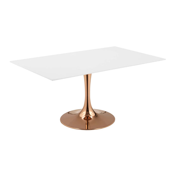 "Modway Lippa 60"" Rectangle Dining Table in Rose White"