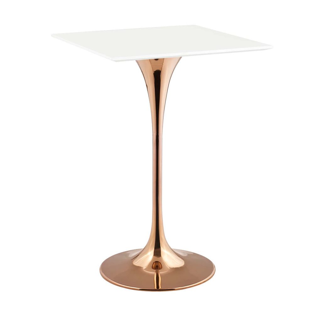 "Lippa 28"" Square Wood Top Bar Table in Rose White by Modway"