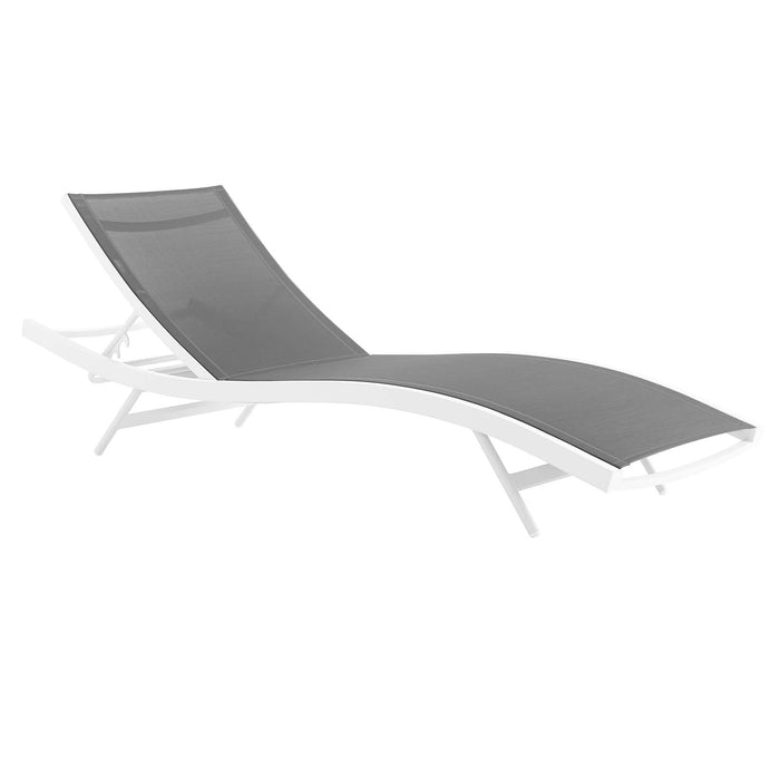 Modway Glimpse Outdoor Patio Mesh Chaise Lounge Chair in White Gray