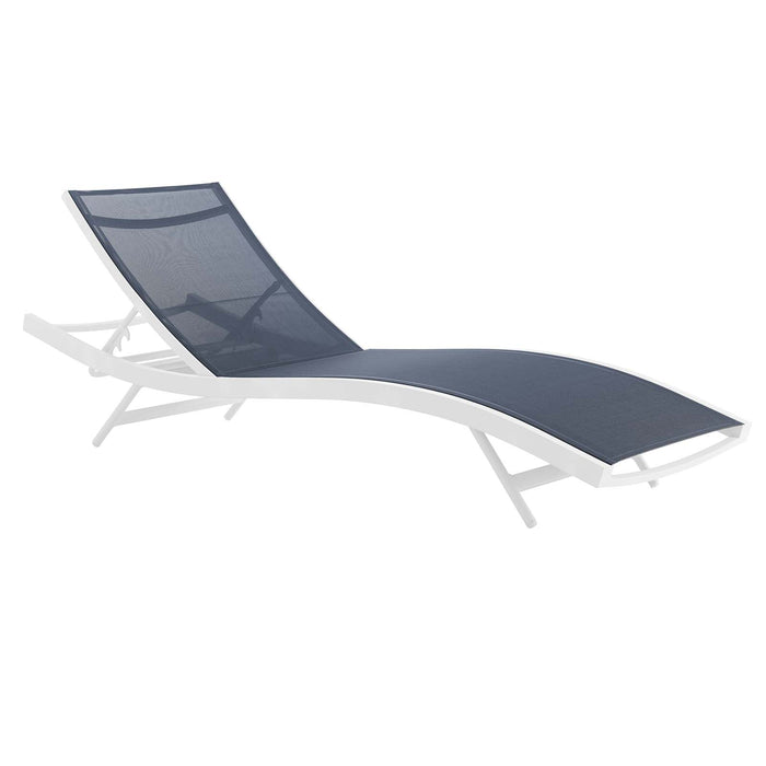 Modway Glimpse Outdoor Patio Mesh Chaise Lounge Chair in White Navy