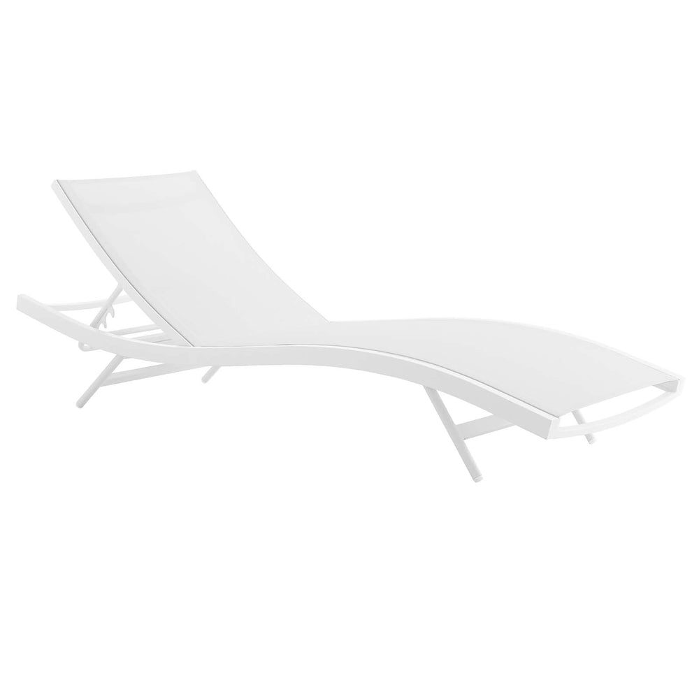 Modway Glimpse Outdoor Patio Mesh Chaise Lounge Chair in White White