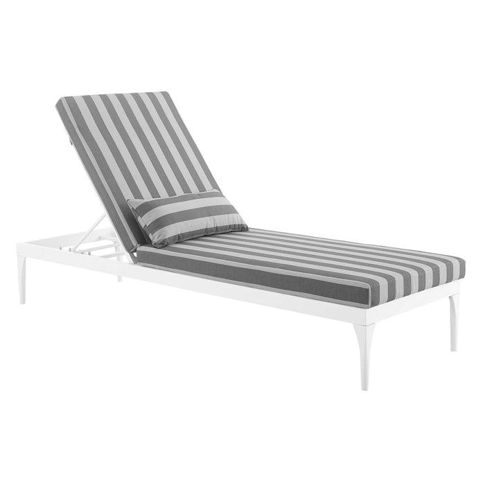 Modway Perspective Cushion Outdoor Patio Chaise Lounge Chair in White Striped Gray