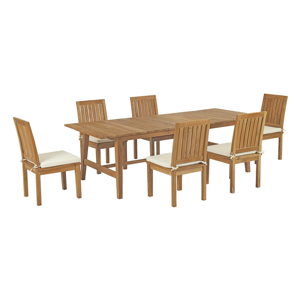 Modway Marina 7 Piece Outdoor Patio Teak Outdoor Dining Set in Natural White