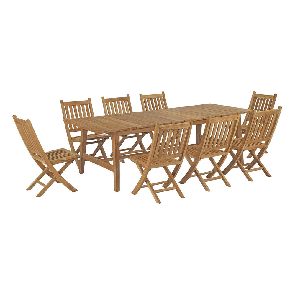 Modway Marina 9 Piece Outdoor Patio Teak Outdoor Dining Set in Natural