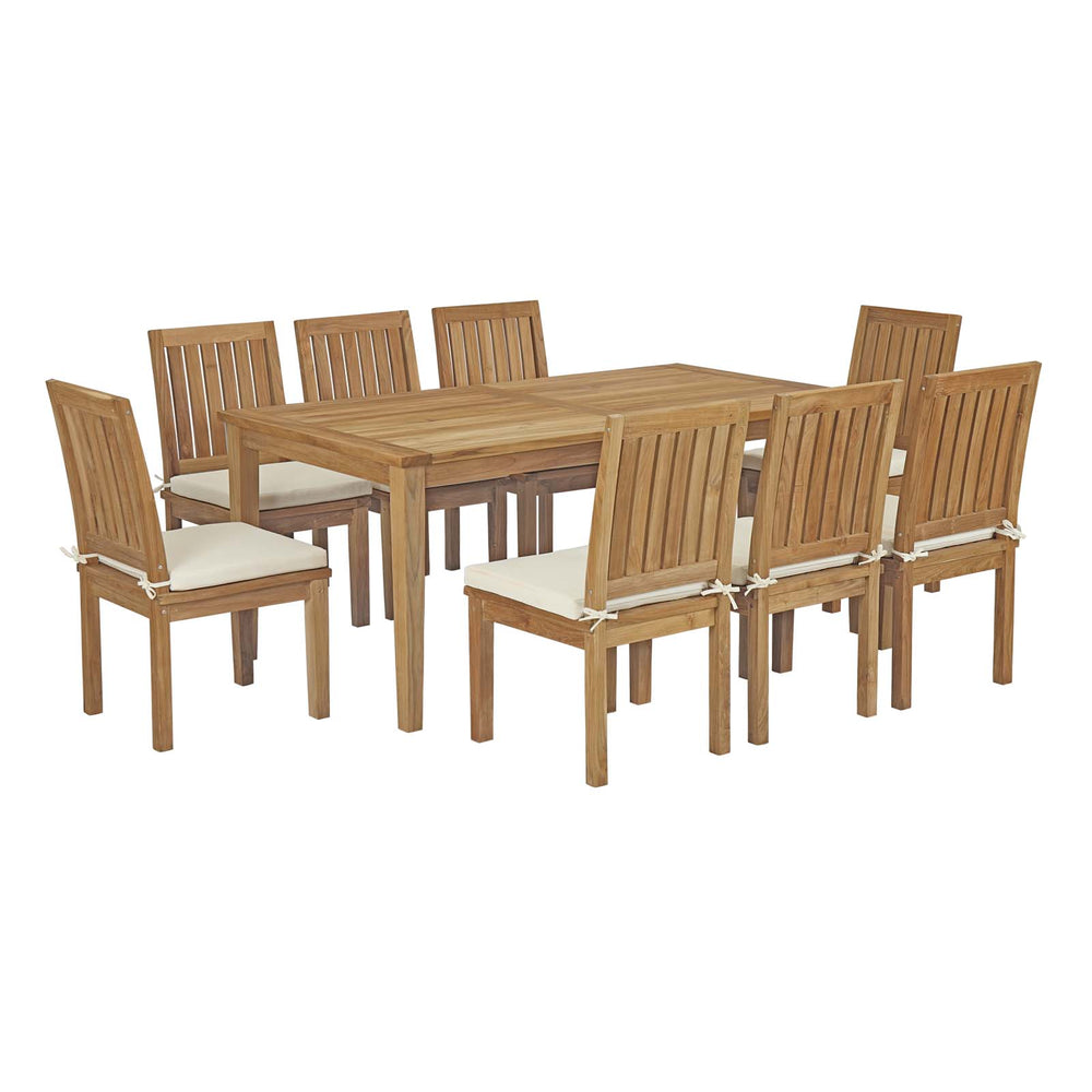 Modway Marina 9 Piece Outdoor Patio Teak Outdoor Dining Set in Natural White