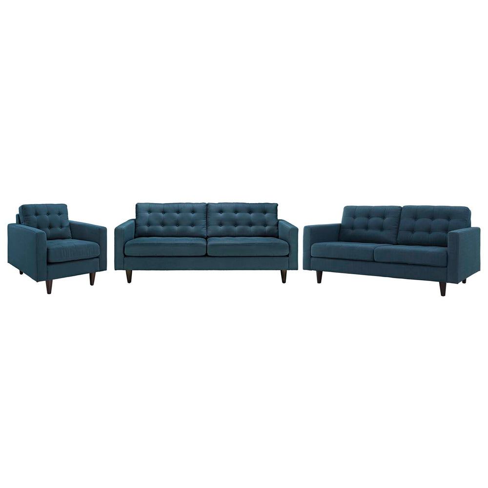 Modway Empress Sofa, Loveseat and Armchair Set of 3 in Azure