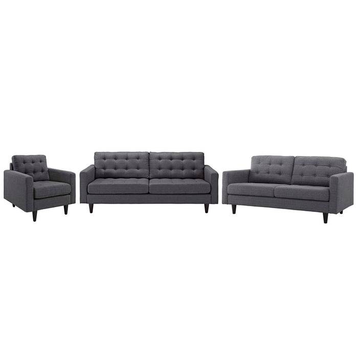 Modway Empress Sofa, Loveseat and Armchair Set of 3 in Gray