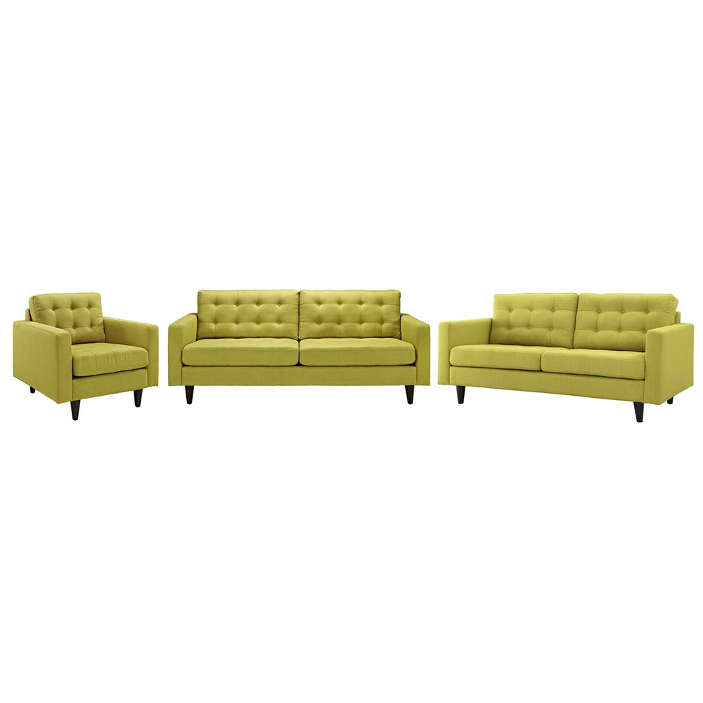 Modway Empress Sofa, Loveseat and Armchair Set of 3 in Wheatgrass