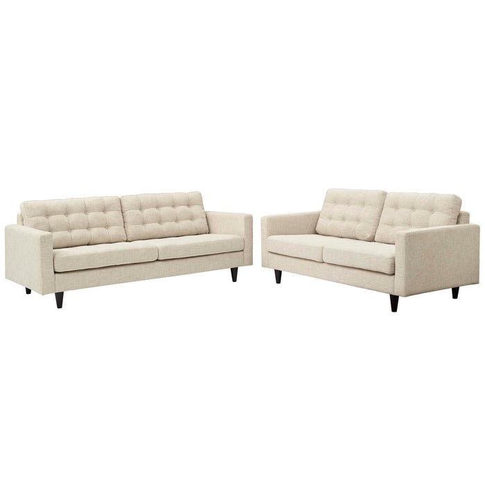 Modway Empress Sofa and Loveseat Set of 2 in Beige