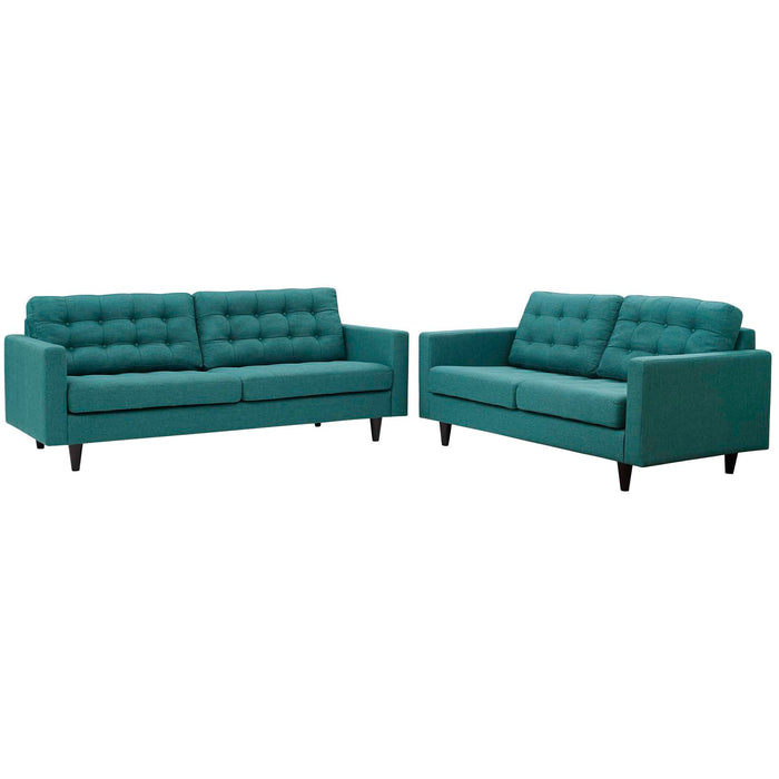 Modway Empress Sofa and Loveseat Set of 2 in Teal