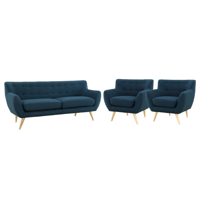Remark 3 Piece Living Room Set in Azure by Modway