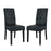 Modway Confer Dining Side Chair Vinyl Set of 2 in Black