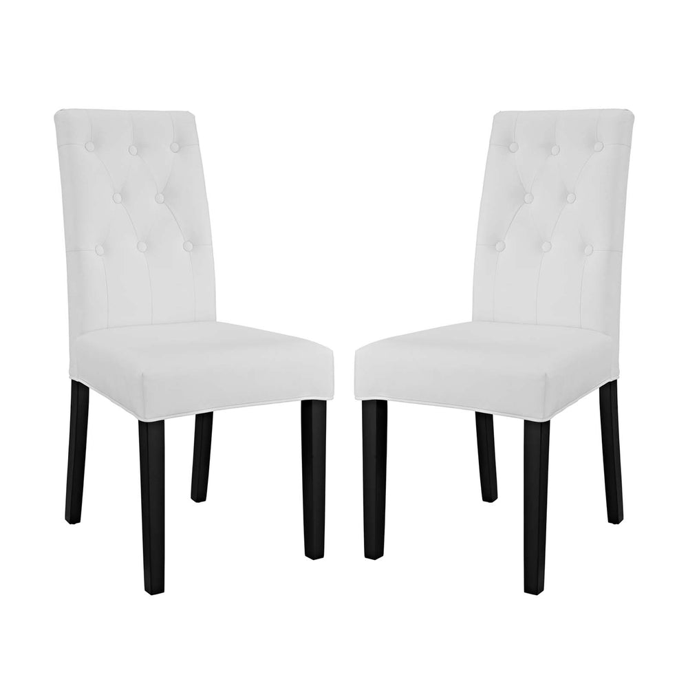 Modway Confer Dining Side Chair Vinyl Set of 2 in White